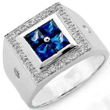انگشتر مردانه طلا سفید با نگین الماس تراش برلیان و یاقوت کبود